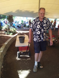 Russ Greenfield wheeling away our GWC Booth at the Marin County Fair 2014