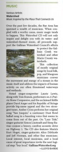WATERSHED CD review in Common Ground Magazine by Lloyd Barde