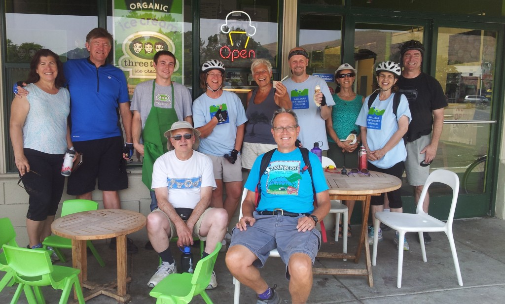 BIKE THE WATERSHED 5 bicyclists enjoying their stop at Three Twins in Terra Linda